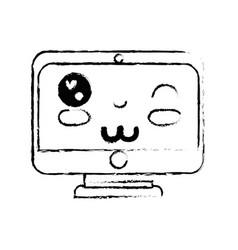 figure kawaii cute funny screen monitor vector image