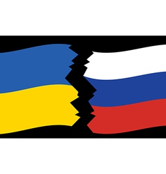 Flags of Ukraine and Russia - crack vector