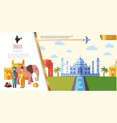 flat india travel concept vector image