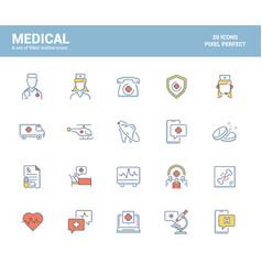 flat line filled icons design-medical vector image