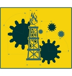 Gears gas rig with measuring lines vector image