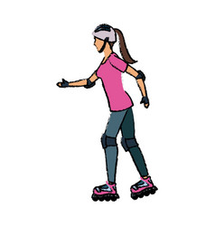 Girl roller skate activity hobby sport vector