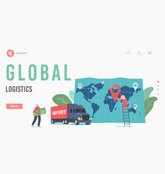 global logistics landing page template cargo vector image