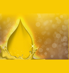 Golden oil drops on yellow background with vector