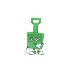 Green sand bucket showing waiting gesture cartoon vector