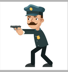 Gun weapon attack shoot policeman character vector