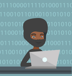 Hacker using a laptop to steal information vector