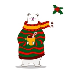Hand drawn polar bear wearing scarf vector image