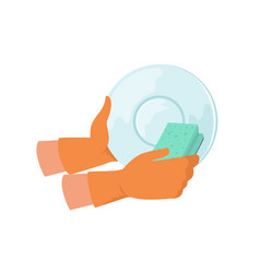 Hand washing dish with sponge cleaning and vector