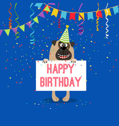 Happy birthday greeting card with dog vector