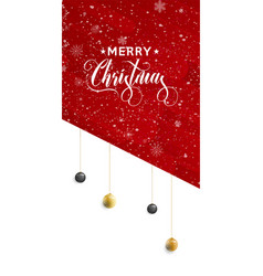 Holiday lettering merry christmas red grunge vector