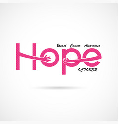 Hope typographicalhope word iconbreast cancer vector