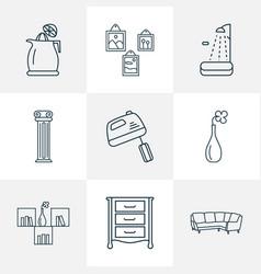 Interior icons line style set with corner sofa vector