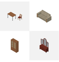Isometric design set of chair couch drawer and vector