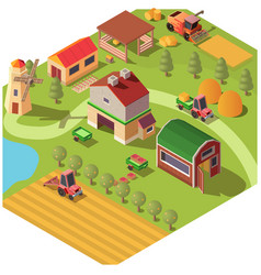 isometric farm or ranch yard with outbuildings vector image