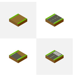 Isometric road set of driveway footpath vector