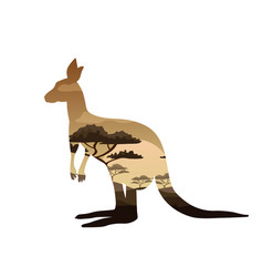 Kangaroo double exposure tattoo art symbol of vector