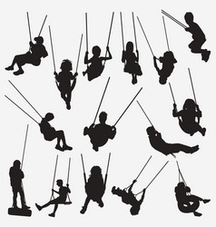 kids swing silhouettes vector image