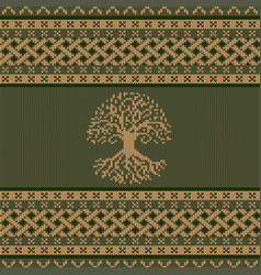 Knitted world tree celtic national ornament vector