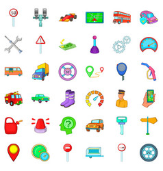 Large car icons set cartoon style vector