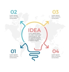 Light bulb infographic Idea chart with 4 steps vector image