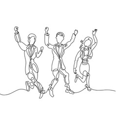 line drawing three happy people - two men and vector image