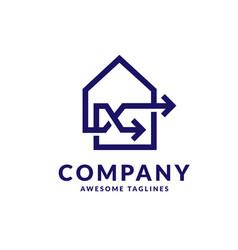 Linear house with arrow connect logo vector