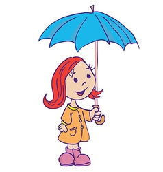 Little girl with umbrella vector