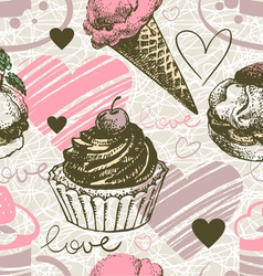 Love background with doodle hearts vector image