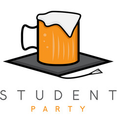Mug of beer in academic hat student party concept vector