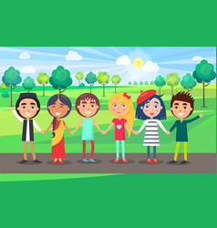Multicultural friendly group of kids in summer vector