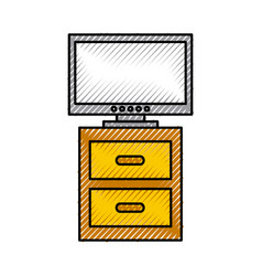 nightstand with tv plasma isolated icon vector image