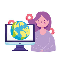 Online education girl student computer world vector