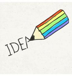 pencil and idea word vector image