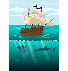 Pirate ship and underwater scenery vector