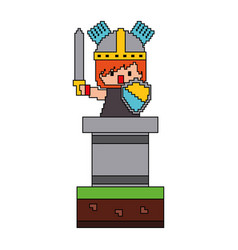 Pixel character knight with sword and shield video vector