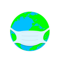 planet earth in a medical face mask vector image