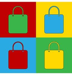 Pop art shopping bag icons vector image