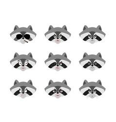 Raccoon set emoji avatar sad and angry face vector