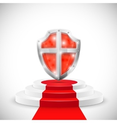 Red Glossy Shield On Pedestal vector image