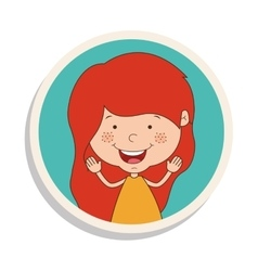 Round frame and girl smiling and redhead vector