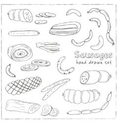 sausages set hand drawn vector image