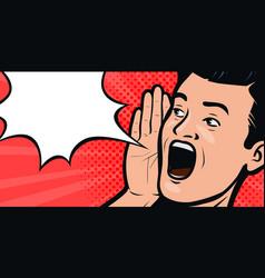 Screaming man pop art retro comic style cartoon vector