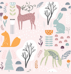 Seamless pattern with bunny squirreldeer vector