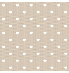 Seamless white lace with hearts vector