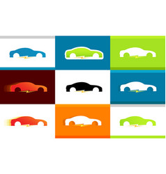 Set of colorful logos of electro cars on vector