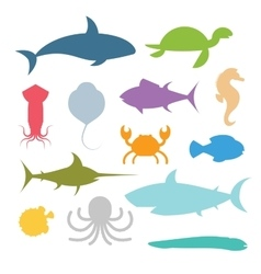 set of sea marine fish and animals icons vector image