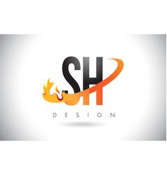 Sh s h letter logo with fire flames design and vector