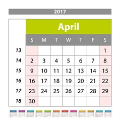 Simple digital calendar for april 2017 printable vector