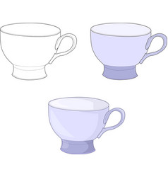 Simple purple blue cup mug template set vector